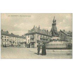 carte postale ancienne 73 CHAMBERY. Place du Centenaire Hôtel de Savoie et de France