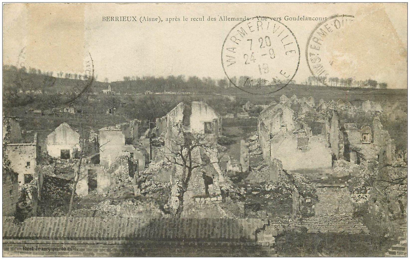 carte postale ancienne 02 BERRIEUX. Vue vers Goudelancourt 1919. Guerre 14-18