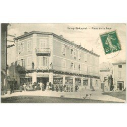 carte postale ancienne 07 BOURG-SAINT-ANDEOL. Place de la Tour 1911. Bazar