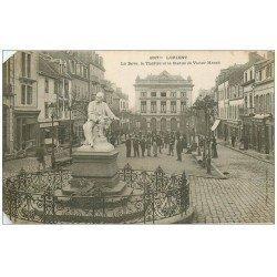 carte postale ancienne 56 LORIENT. La Bove. Théâtre et Statue Massé 1905. Biseautée