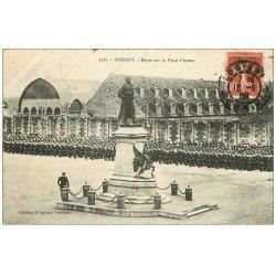 carte postale ancienne 56 LORIENT. Revue Militaire sur Place d'Armes 1909