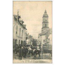 carte postale ancienne 56 VANNES. Marché Bestiaux Place de la Préfecture 1915 Rue des Fontaines. Maison Guillanton