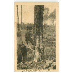 carte postale ancienne 40 LANDES. Cramponnage des Pins Vieux métiers dans la Forêt 1931