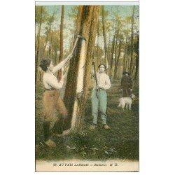 carte postale ancienne 40 LANDES. Résinières au travail. Vieux métiers dans la Forêt 1921
