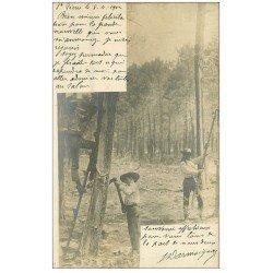 carte postale ancienne 40 LANDES. Résiniers récolte de la Gemme. Vieux métiers dans la Forêt 1902