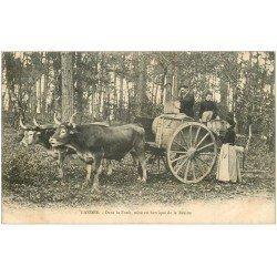 carte postale ancienne 40 LES LANDES. Mise en Barrique de la Résine dans la Forêt. Vieux Métiers vers 1900