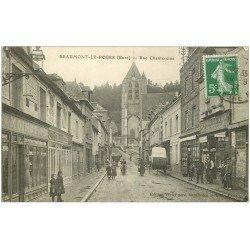 carte postale ancienne 27 BEAUMONT-LE-ROGER. Rue Chateraine 1913 Coiffeur