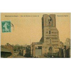 carte postale ancienne 27 BEAUMONT-LE-ROGER. Rue de Vieilles Ruines et Eglise. Superbe carte toilée 1909 pour le Neubourg