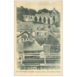 carte postale ancienne 27 BEAUMONT-LE-ROGER. Abbaye ruines 1947