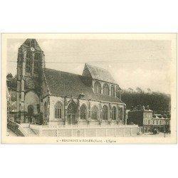 carte postale ancienne 27 BEAUMONT-LE-ROGER. Eglise et autocar