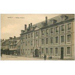 carte postale ancienne 27 BERNAY. Collège Fresnel et Magasin de Cycles