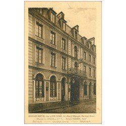 carte postale ancienne 27 BERNAY. Grand Hôtel du Lion d'Or rue Alençon