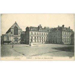 carte postale ancienne 27 BERNAY. Place Hôtel de Ville Hôtel