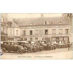 carte postale ancienne 27 BRETEUIL. Restaurant Hôtel du Paradis Chauffeurs voitures de maîtres. Menu au verso