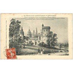 carte postale ancienne 27 CONDE-SUR-ITON. Château 1911 d'après vieille estampe