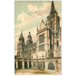 carte postale ancienne 27 EVREUX. Cathédrale Jardin Evêché 1915