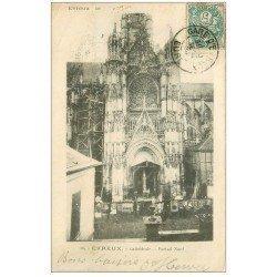carte postale ancienne 27 EVREUX. Cathédrale Portail 1904