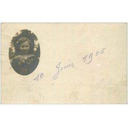 carte postale ancienne 08 BALAN SEDAN. Photo Carte Postale portrait d'une Fillette Petit Marin 1905