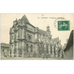carte postale ancienne 27 GISORS. Cathédrale 1920 animation