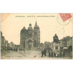 carte postale ancienne 27 LE NEUBOURG. Eglise et Statue Dupont de l'Eure 1907