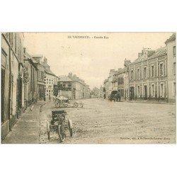 carte postale ancienne 27 LE VAUDREUIL. Motocyclette tricycle sur Grande Rue 1906