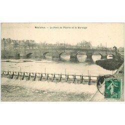 carte postale ancienne 08 CHARLEVILLE MEZIERES. Pont de pierre et Barrage 1908