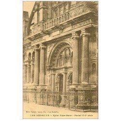 carte postale ancienne 27 LES ANDELYS. Eglise Notre-Dame Portail. sépia