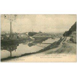 carte postale ancienne 08 CHARLEVILLE MEZIERES. Pont Métallique 1910