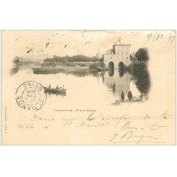 carte postale ancienne 08 CHARLEVILLE. Rare 1899 Vieux Moulin et barque (défaut)