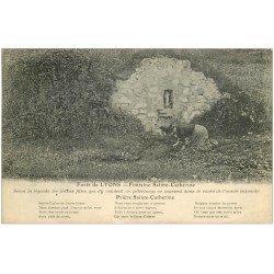 carte postale ancienne 27 LYONS-LA-FORET. Femme récoltant l'Eau Fontaine Sainte-Catherine 1929 pour se marier...