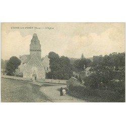 carte postale ancienne 27 LYONS-LA-FORET. Femme sur Chemin de l'Eglise