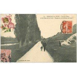 carte postale ancienne 27 MARCILLY-SUR-EURE. Côtes de la Forêt Route de Sorel. Rare 1906 puis 1911. Fillette en ajout