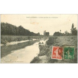 carte postale ancienne 27 PONT-AUDEMER. Canotage sur la Risle maritime 1920