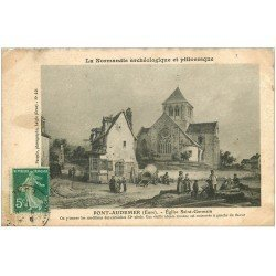 carte postale ancienne 27 PONT-AUDEMER. Eglise Saint-Germain autrefois. Carte papier velin 1911