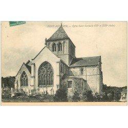 carte postale ancienne 27 PONT-AUDEMER. Eglise Saint-Germain et Cimetière