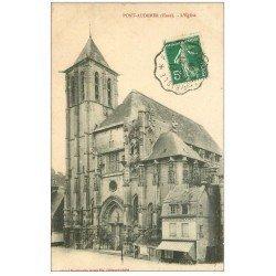 carte postale ancienne 27 PONT-AUDEMER. Eglise Saint-Ouen Restaurant 1913