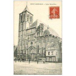 carte postale ancienne 27 PONT-AUDEMER. Eglise Saint-Ouen. Joli dessin au verso...