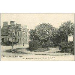 carte postale ancienne 27 PONT-AUDEMER. Monument et Square de la Gare 1919