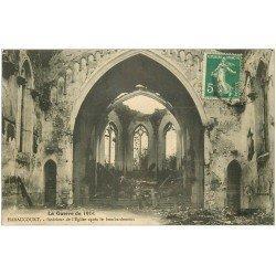 carte postale ancienne 08 HARAUCOURT. Eglise bombardée Guerre 1914-18