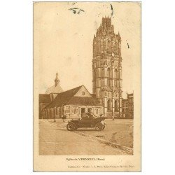 carte postale ancienne 27 VERNEUIL-SUR-AVRE. Automobile devant l'Eglise
