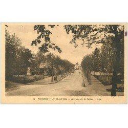 carte postale ancienne 27 VERNEUIL-SUR-AVRE. Avenue de la Gare