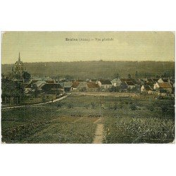 carte postale ancienne 02 BRAINE. Vue du Village 1914. Carte toilée