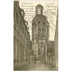 carte postale ancienne 27 VERNEUIL-SUR-AVRE. Eglise Saint-Jean 1916 cycliste
