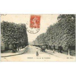 carte postale ancienne 27 VERNON. Avenue de l'Ardèche 1917 Voiture ancienne