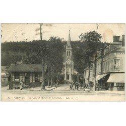 carte postale ancienne 27 VERNON. Gare et Eglise de Vernonnet 1915 Café de la Gare