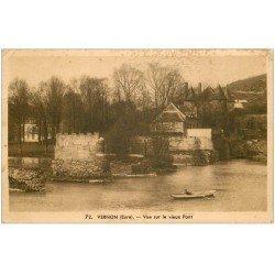 carte postale ancienne 27 VERNON. Le Vieux Pont canotier 1949