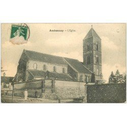 carte postale ancienne 51 AMBONNAY. L'Eglise animation