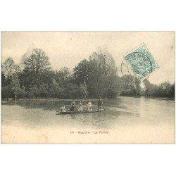 carte postale ancienne 51 ANGLURE. La Pointe avec Passeur en barge 1905