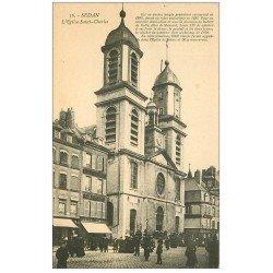 carte postale ancienne 08 SEDAN. Eglise Saint-Charles. Magasin Chaussures A la Brésilienne