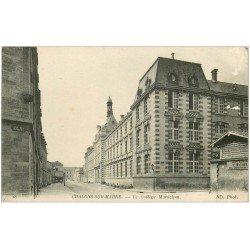 carte postale ancienne 51 CHALONS-SUR-MARNE. Collège Municipal et rue des Viviers